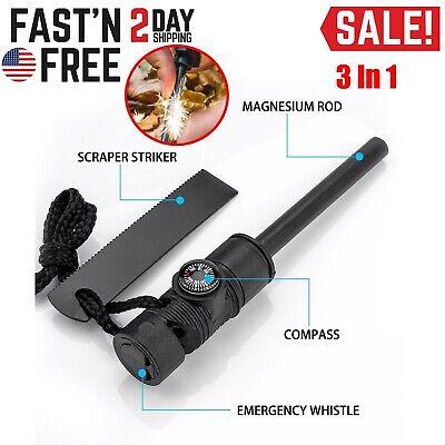 Emergency Fire Starter Magnesium Striker Yarn Key Chain #FS376 Built In Clip