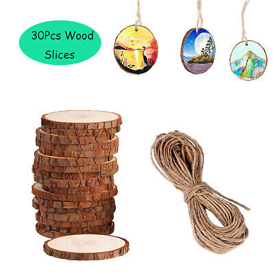 30Pcs Unfinished Natural Wood Slices Pieces Christmas Tree Ornaments DIY Craft ()
