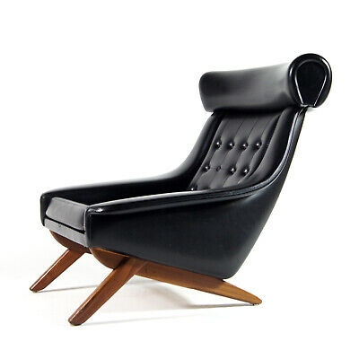 Retro Vintage Danish Teak Illum Wikkelso Ox Chair Lounge Armchair Faux Leather