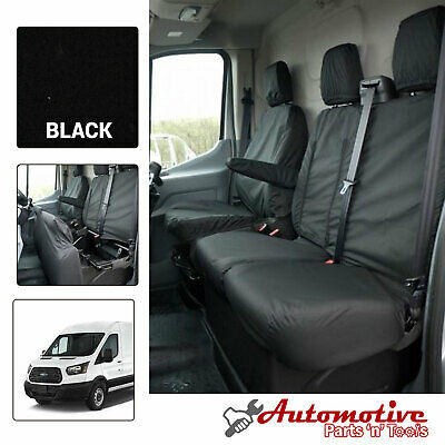 Black Tailored Seat Covers for Ford Transit Mk8 Soft Front Drivers & Passengers