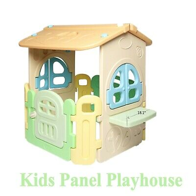 Kids Playhouse Cottage Outdoor Kids Panel House Toy Plastic Easy Clean Round Arc