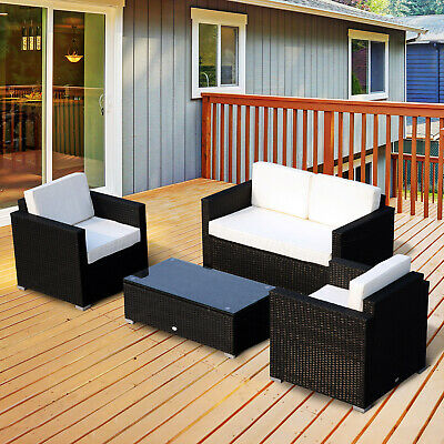 Garden Furniture - 4 Pieces Rattan Sofa Set Chair Seat Furniture Patio Wicker Steel Black Garden