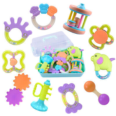10 Baby Rattles, Infants Rattles Teething Play Toys, Babies Chewing Silicone