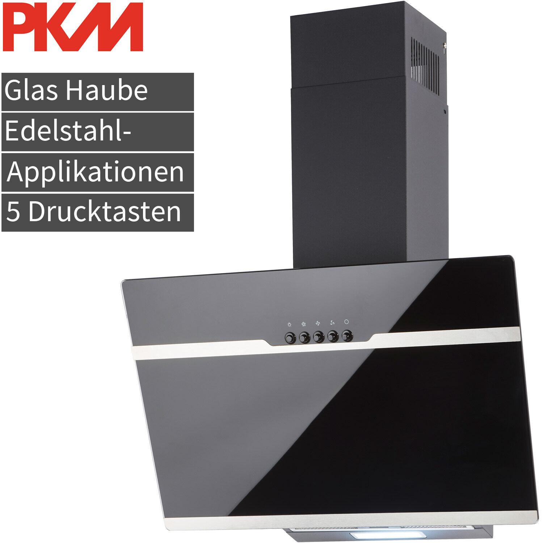 60cm Dunstabzugshaube Glas Schräghaube Kopffreihaube Edelstahl Applikat. EEK: A