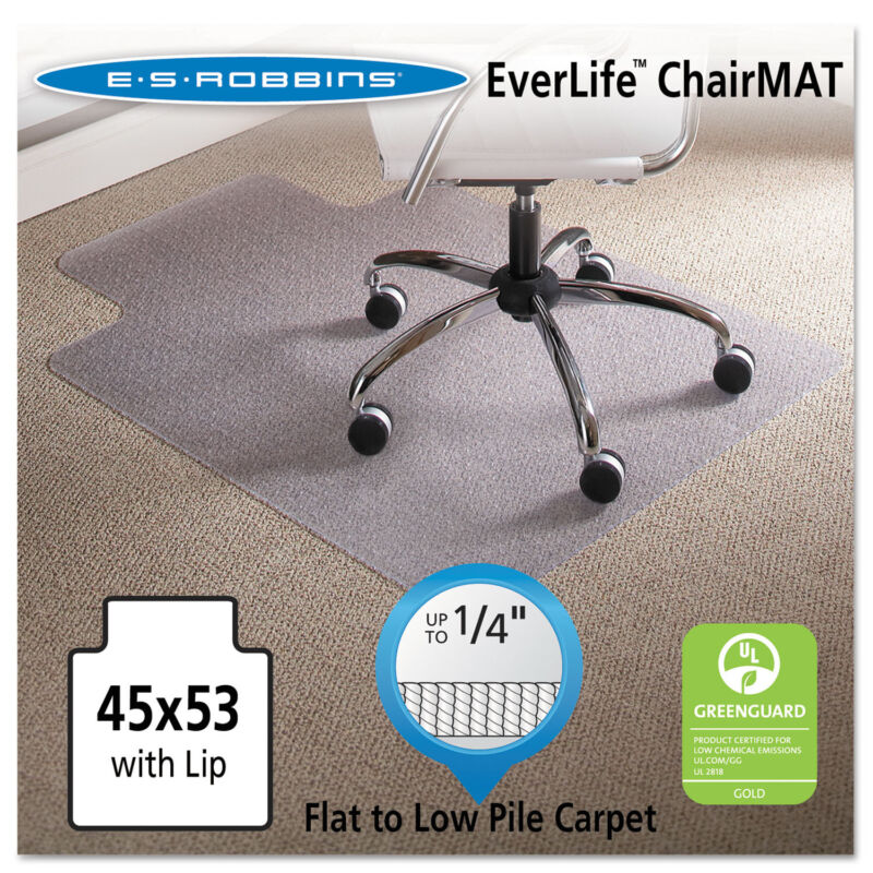 Es Robbins 45 x 53 Lip Chair Mat Task Series AnchorBar for Carpet up to 1/4""