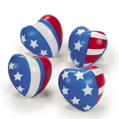 12 Patriotic 4th of July MEMORIAL DAY FLAG heart shaped stress balls Party Favor](July 4th Decorations)