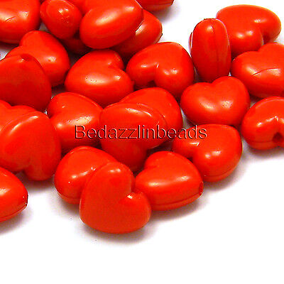 Lot of 50 Bright Red Plastic Acrylic 10mm Heart Shaped Beads with 1.7mm Hole](Red Plastic Beads)