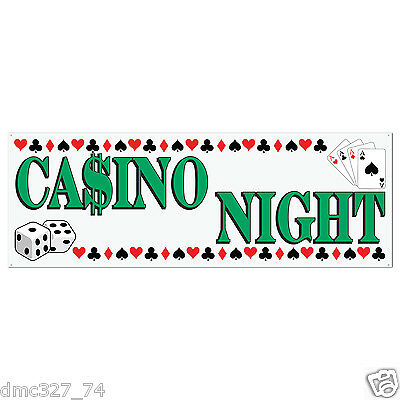 CASINO Vegas Poker Game Party Decoration CASINO NIGHT Sign BANNER 60