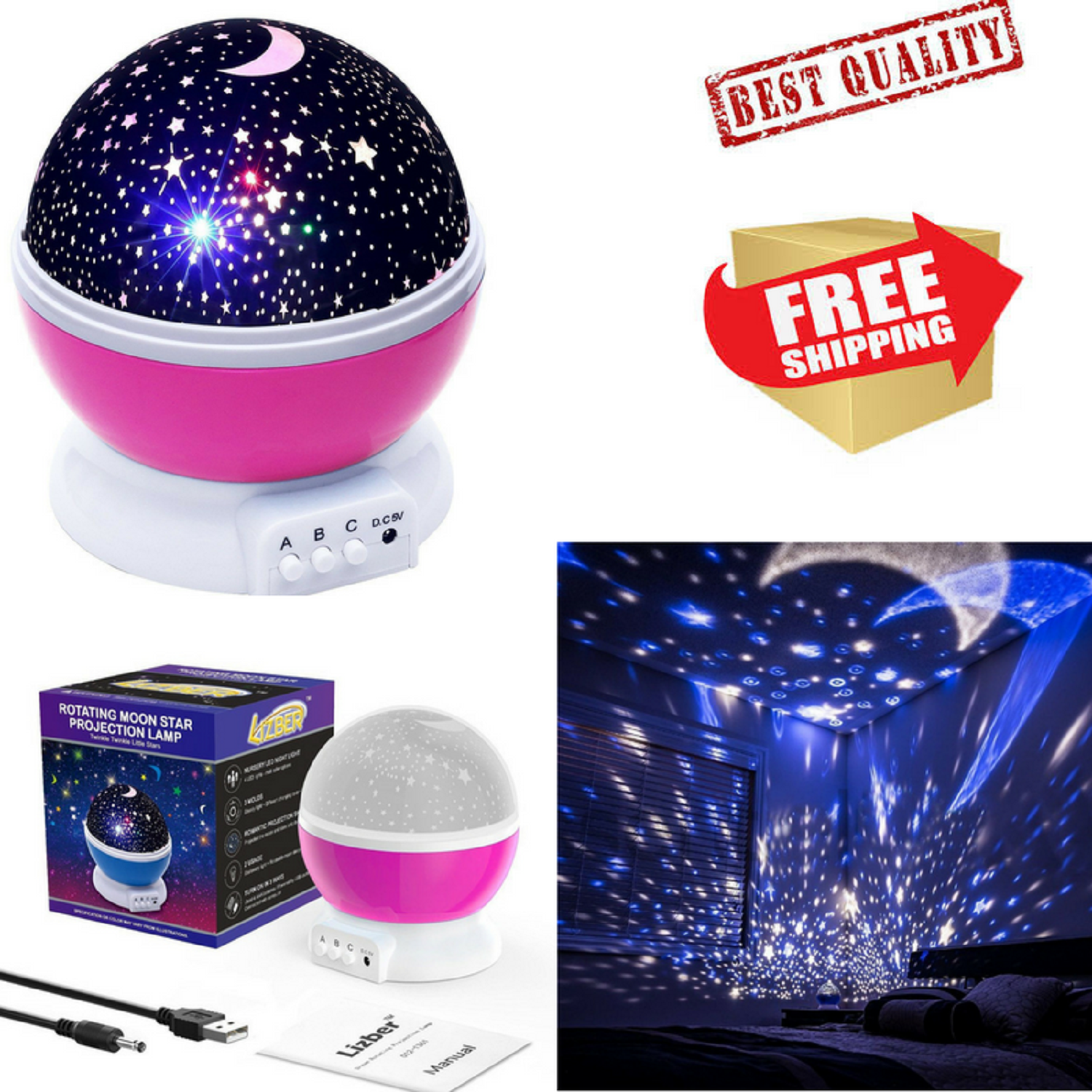 Constellation Night Light Baby Kids Room Lamp Moon and Stars Sky Projector Pink