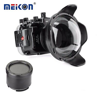 Meikon 40m/130ft Underwater Camera Housing for Sony A7II A7RII A7SII/w Dome Port