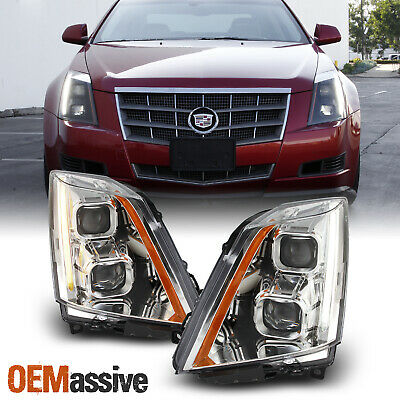 For 08-14 Cadillac CTS Dual Projector Switchback LED Headlights Chrome Housing