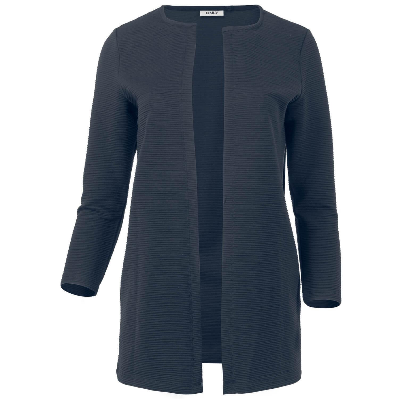 ONLY Damen Long Open Cardigan Longblazer Rundhals 7/8-Ärmel Blazer onlLECO