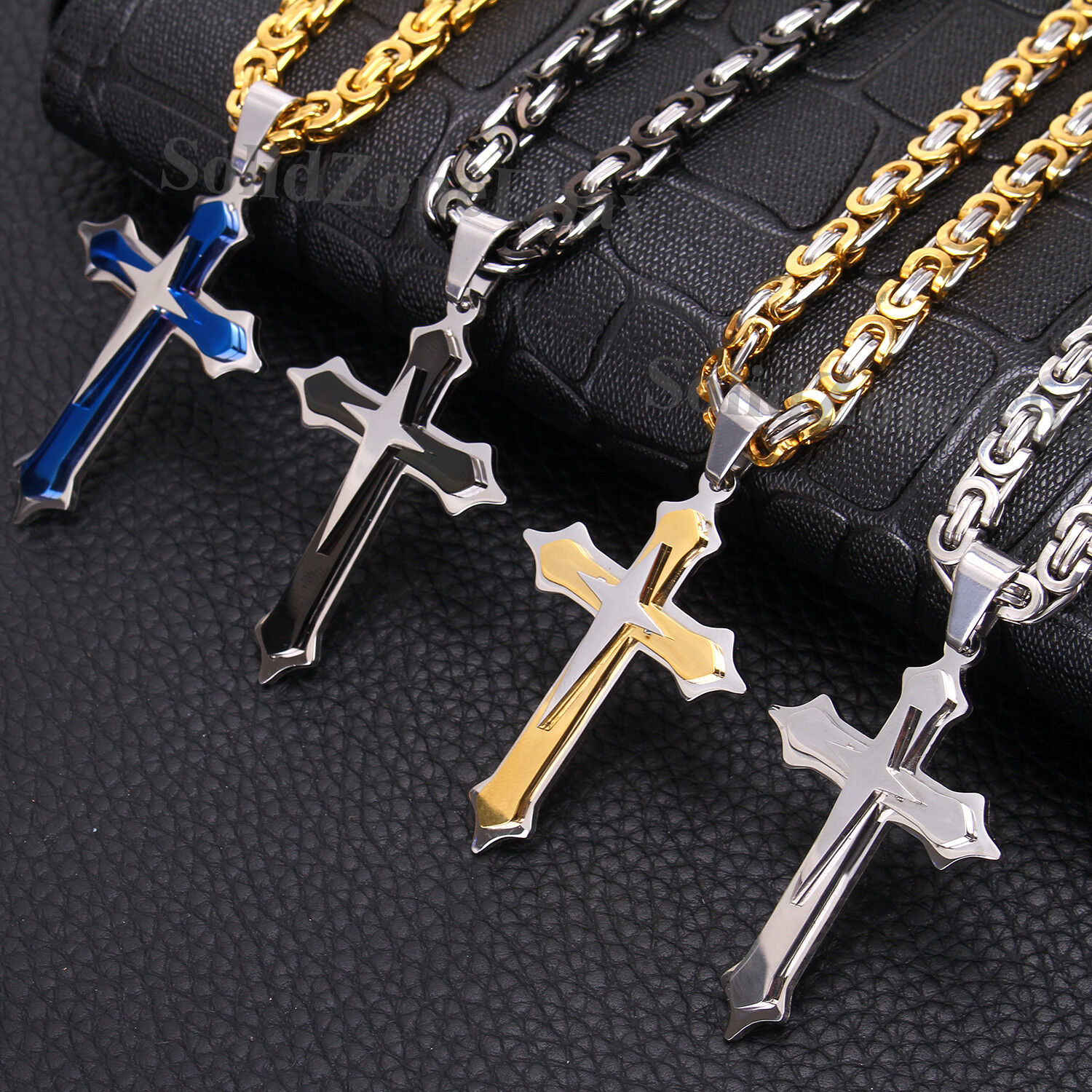 Mens Stainless Steel Cross Pendant Gold Silver Black Necklac
