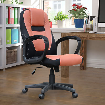 HOMCOM Swivel Office Chair Ergonomic Computer Faux Leather Seat High Back Wheels