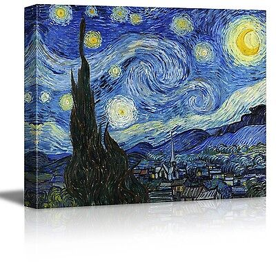 """Starry Night Stretched Canvas Fine Art Repro Print By Vincent Van Gogh 16"""" x 20"""""""
