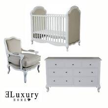 WHITE OAK TIMBER FRENCH PROVINCIAL BABY COT UPHOLSTERED LINEN Dural Hornsby Area Preview