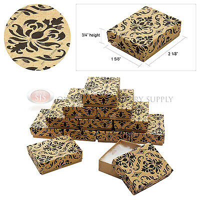 "12 Kraft Damask Print Gift Jewelry Cotton Filled Boxes 2 1/8"" x 1 5/8"" x 3/4"""