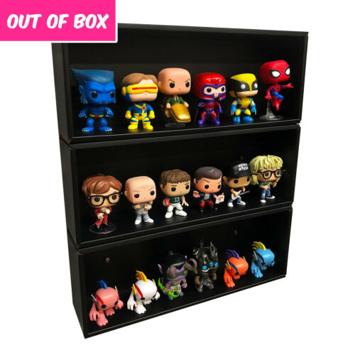 OUT OF BOX 3 Single Row Display Cases for Funko Pops, Black Cardboard