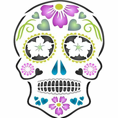 Day Of The Dead Sugar Skull Wall Stencil Reusable Halloween Cinco de Mayo - Halloween Skull Stencils