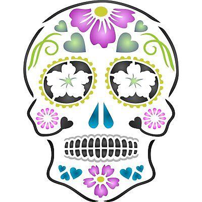 Day Of The Dead Sugar Skull Wall Stencil Reusable Halloween Cinco de Mayo Fabric](Sugar Skull Stencil)