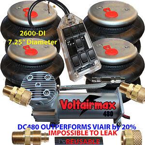 AirRide Compressor DC480 Air Bag Suspension 4-2600 Air Springs kits Fitting>1/2