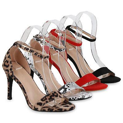 Damen Abiball Hochzeit Riemchensandaletten Stiletto High Heels 826623 Schuhe High Stiletto Heel