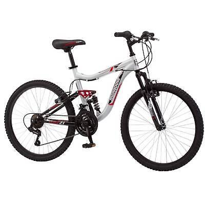 "Mountain Bike 24"" Mongoose Ledge 21 Speed Steel Frame Full Suspension Kids Adult"