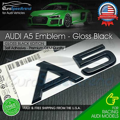 Audi A5 Gloss Black Emblem 3D Rear Trunk Lid Badge OEM S Line Logo Nameplate