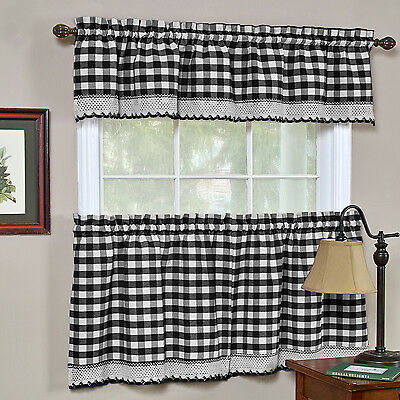 Buffalo Check Black Gingham Kitchen Curtain Window Treatment Assorted Sizes Curtains & Drapes