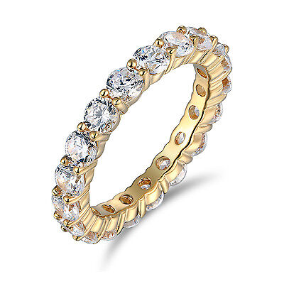 2 Ct 14K Real Yellow Gold Round Eternity Endless Wedding Anniversary Ring Band