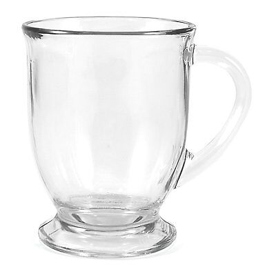 Coffee Mug Set 4 Clear Glass Tea Chocolate Cups 16 Oz Café Decor Teacup