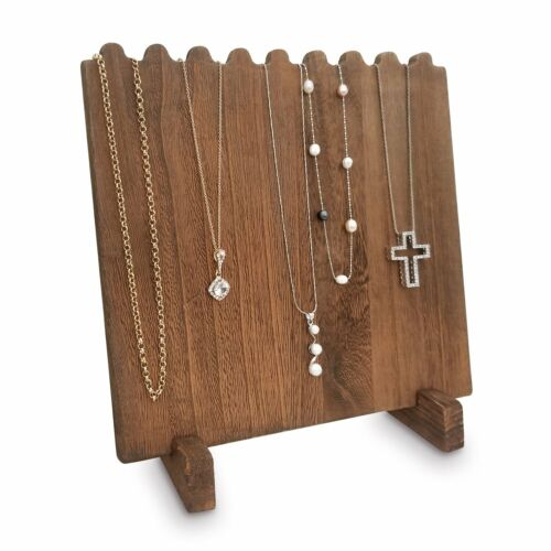 """Brown Stained Wooden Necklace Chain Jewelry Display Stand 9 3/8""""W x 5 1/2""""D x 10"""
