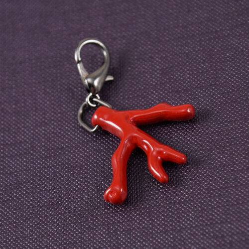 Isaia Napoli Original Replacement Red Enameled Metal Coral Branch Keychain Clip