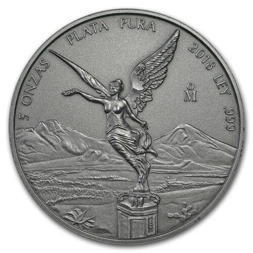 2018 Mexico 5 oz Silver Libertad Antiqued Finish (In Capsule) - SKU#180845