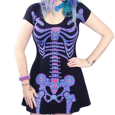 Kreepsville 666 Day of the Dead Skeleton Flare Dress Made in the - Day Of The Dead Attire