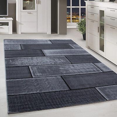 Chinesische Teppich (Moderner Design Stein Mauer Teppich Kurzflor Wohnzimmer Schwarz Grau meliert)