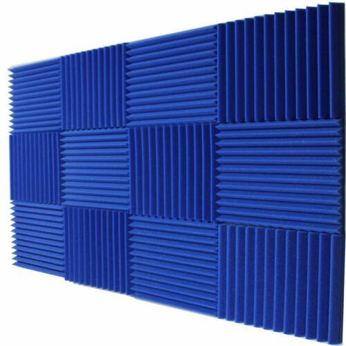 """Blue 12 Pack Acoustic Panels 12"""" x 12"""" x 1"""" Studio Foam Wedges Mybecca"""