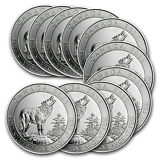 2015 3/4 oz Silver Canadian Grey Wolf Coin - Lot of 10 - SKU #85031