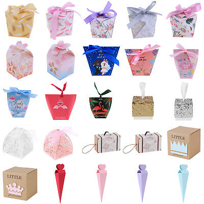 10/20/50Pcs Chocolate Cake Candy Boxes Gift Bag Wedding Favors Party Decoration - Cake Favor Boxes