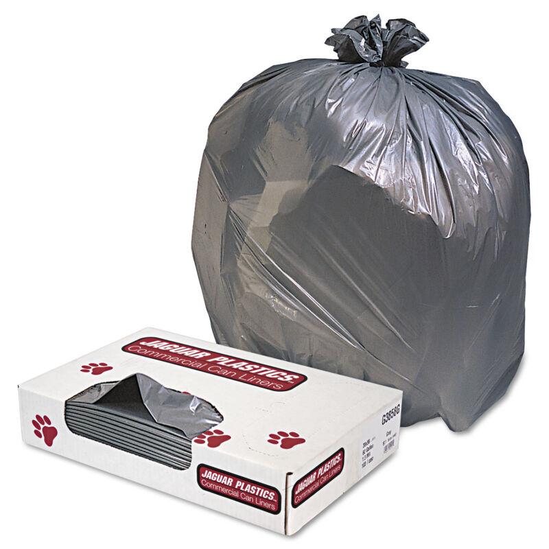 Jaguar Plastics Low-Density Commercial Can Liners 60gal 1.3mil Gray 100/Carton