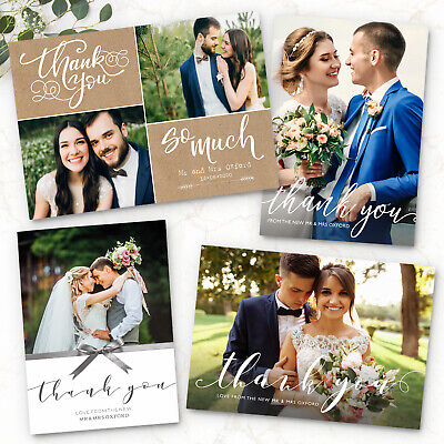 Personalised Wedding Thank You Cards with Photo + Envelopes](Photo Thank You Cards Wedding)