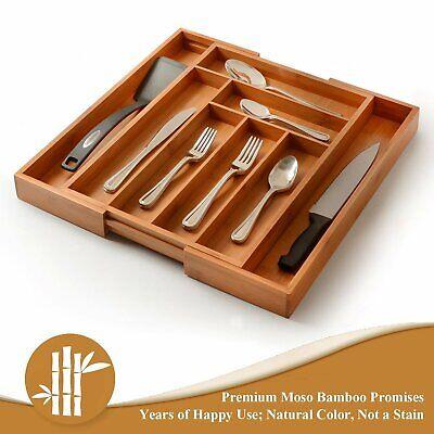 8 Grid Bamboo Kitchen Drawer Organizer Silverware Storage Box and Cutlery Tray
