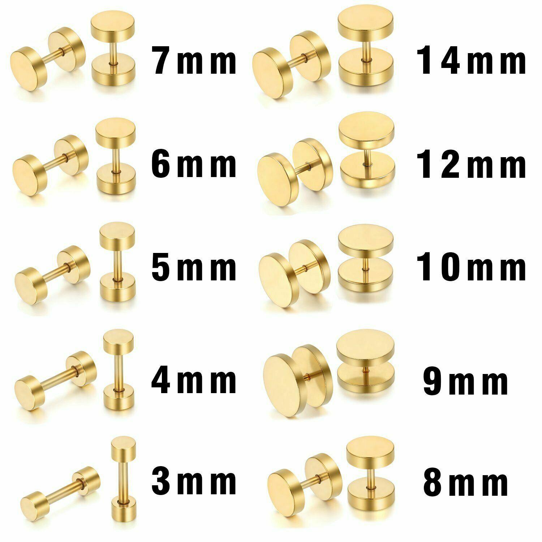 2pcs Round Gold Stainless Steel Dumbbell Barbell Ear Stud Earrings for Men Women Earrings