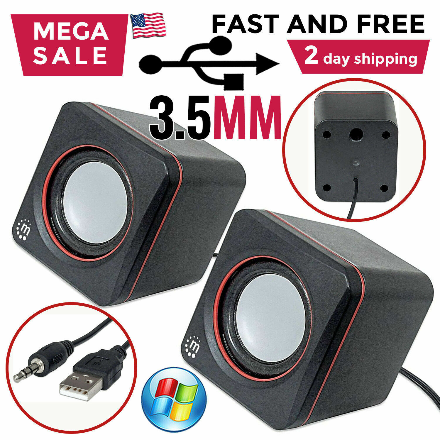 computer pc speakers 2 0 usb powered