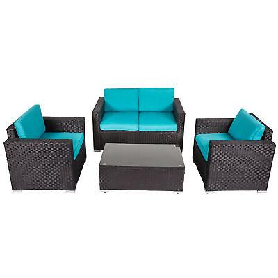 Kinbor 4-piece Outdoor Wicker Sofa Set Patio Sectional Furniture Set w/ Cushions 4 Piece Outdoor Wicker
