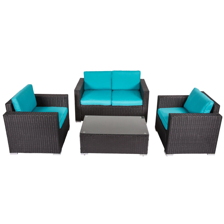 Kinbor 4-piece Outdoor Wicker Sofa Set Patio Sectional Furni