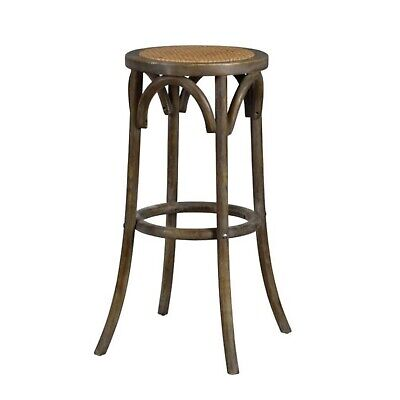 Backless Bar Stool Country Style Wood and Rattan Construction Tavern Pub -