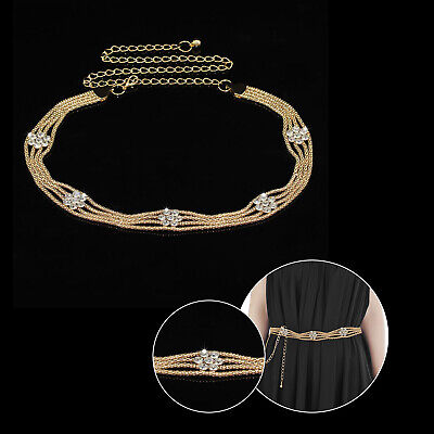 Oro Diamante Estrás Cinturón para Dama Cadena Ajustable Niña Vestidos de Novia