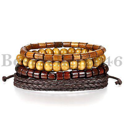 4pcs Leather Bracelets for Men Women Wooden Beaded Bracelets Braided Cuff - Wooden Bangles