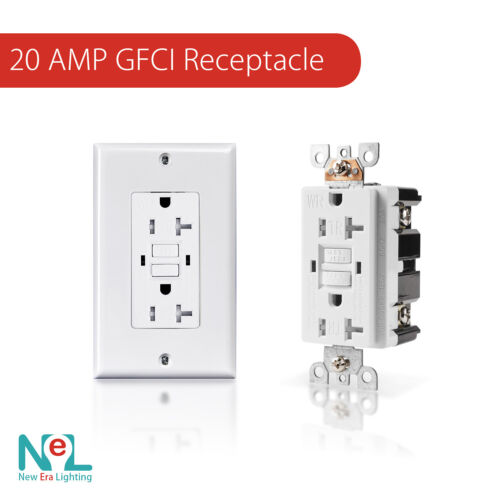 20A GFCI GFI Safety Outlet Receptacle, Tamper and Weather Resistant, White